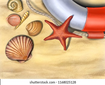 Seashells, starfish and a lifesaver on a sand background. Digital illustration.