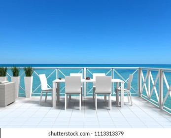 seaside bright white terrace with furniture and clear turquoise water - 3D rendering