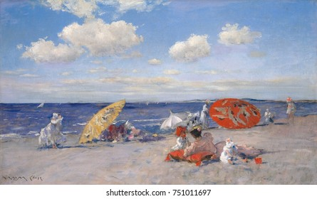 AT THE SEASIDE, by William Merritt Chase, 1892, American painting, oil on canvas. Impressionist Long Island, N.Y. beach scene, painted in bright, luminous color with big umbrellas, women, and children