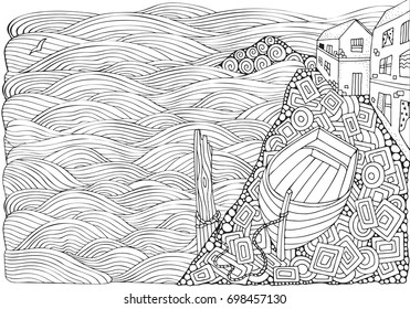 Seaside promenade. Wooden boat lying on the shore. Adult coloring book page in zentangle style. Black and white. Doodle.