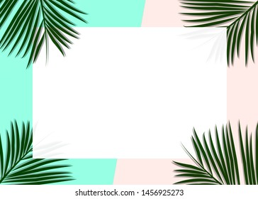 Seasonal flat lay for summer. Palm leaves decorated on the soft pastel blue and pink colored background for your message.