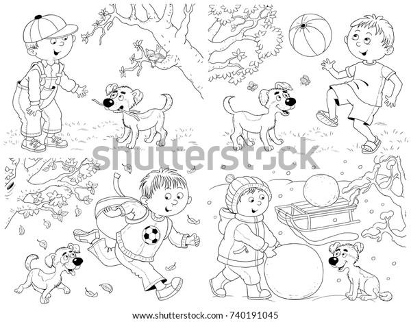 Seasons Spring Summer Autumn Winter Cute Stock Illustration 740191045