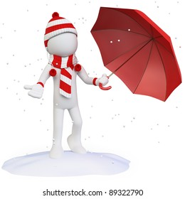 Seasons. Winter. Man in the snow with an umbrella hat scarf and gloves