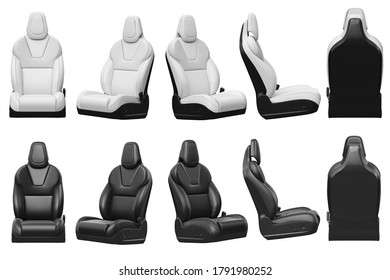 Seat car chair set leather automobile. 3D rendering