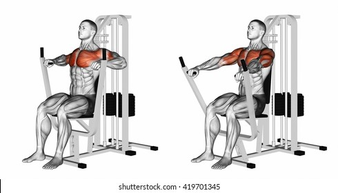 Seated chests press. 3D illustration