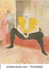 The Seated Clowness, by Henri de Toulouse-Lautrec, French Post-Impressionist, 1896, lithograph. Cha-u-Kao performed as an openly lesbian clown and dancer in Paris cabarets and the Moulin Rouge in the