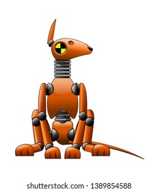 seated orange mechanical crash test dummy in the form of a  bull terrier dog vector stock illustration isolated on white background in clip art style