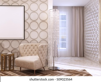 Seating area in the living room in the style of art Deco. Designer chairs and leather wall with decorative circles. 3D render.