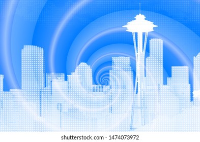 Seattle City Skyline abstract illustration (from my own photo)