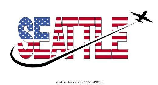 Seattle flag text with plane silhouette and swoosh illustration