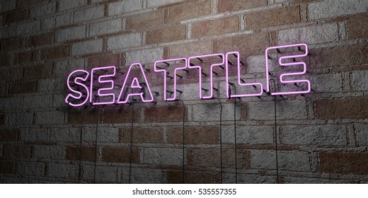 SEATTLE - Glowing Neon Sign on stonework wall - 3D rendered royalty free stock illustration.  Can be used for online banner ads and direct mailers.