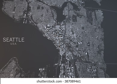 Seattle, map, satellite view, Washington State, United States