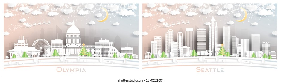 Seattle and Olympia Washington City Skyline Set in Paper Cut Style with Snowflakes, Moon and Neon Garland. Christmas and New Year Concept. Santa Claus on Sleigh.