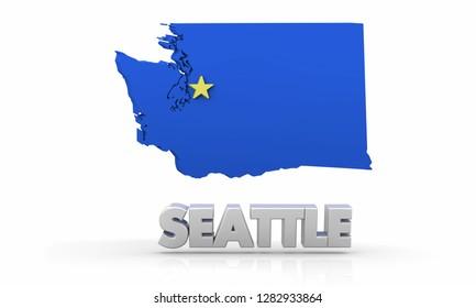 Seattle Washington WA City State Map 3d Illustration