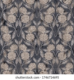 Seaumless neutral worn faded western white denim jean texture with symmetric floral pattern overlay. Intricate mottled grungy seamless repeat raster jpg pattern swatch.