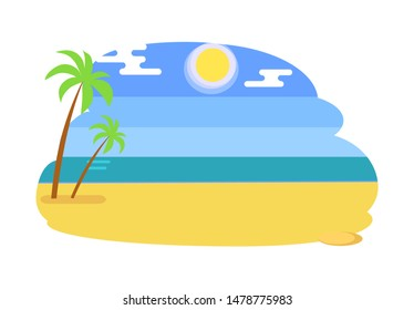 Seaview seascape with tropical beach summer raster illustration of yellow sand two palm trees and blue sea or ocean at coastline isolated on white.