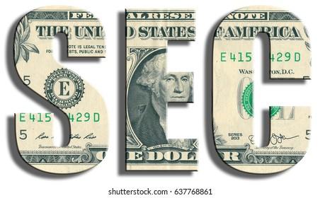 SEC - Securities Exchange Commission. US Dollar texture.