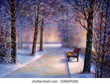 Secluded bench in the evening winter park. Oil painting.