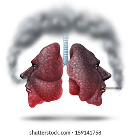 Second hand smoke health care concept for cigarette smoking risks as human lungs in shaped as a head as one smoker and another innocent victim lung breathing the toxic fumes turning the organ black.