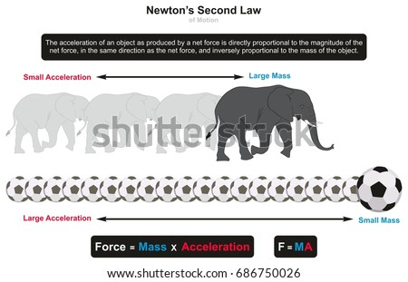 Second Law Motion Infographic Diagram Examples Stock Illustration