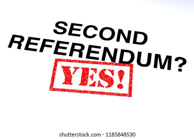 The Second Referendum question stamped with a red YES! rubber stamp.