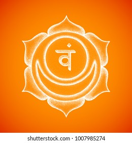 second Svadhishthana sacral chakra sanskrit seed mantra Vam hinduism syllable lotus petals. Dot work tattoo style hand drawn white monochrome symbol on orange background for yoga practices.