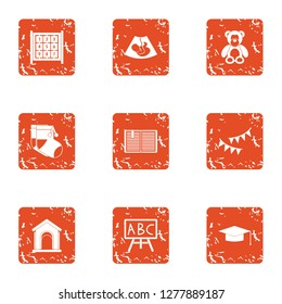 Secondary school icons set. Grunge set of 9 secondary school icons for web isolated on white background