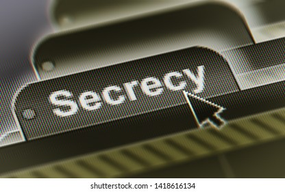 Secrecy. A file in a screen. Illustration.
