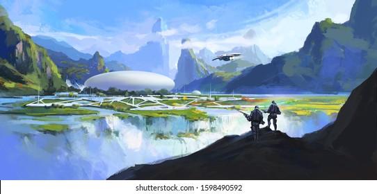 Secret base in secret environment, science fiction scene, digital painting.