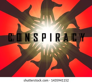 Secret Conspiracy Hands Representing Complicity In Treason Or Political Collusion 3d Illustration. Criminal Intrigue In The Elections