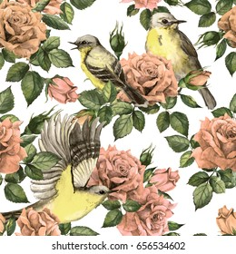 Secret garden - pink roses flowers and birds. Seamless floral background. Pastel watercolor in pale vintage colors