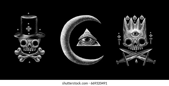 Secret mystical occult symbols and signs set
