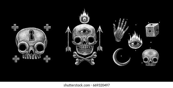 Secret mystical occult symbols and signs set