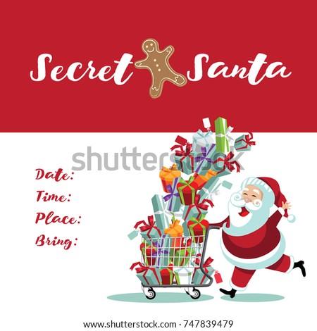 Secret Santa invitation template with cartoon Santa Claus pushing a shopping cart full of gifts.