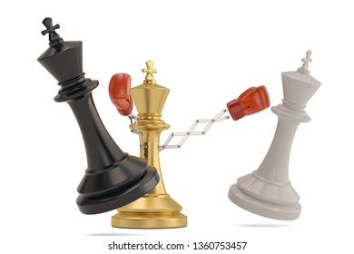 Secret weapon business concept with a chess king joke boxing glove.3D illustration.