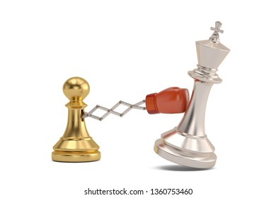 Secret weapon business concept with a chess pawn joke boxing glove.3D illustration.