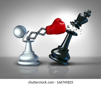 Secret weapon business concept with a chess pawn punching and destroying the competition king piece with a hidden red boxing glove as a metaphor for innovative corporate strategy and planning to win.
