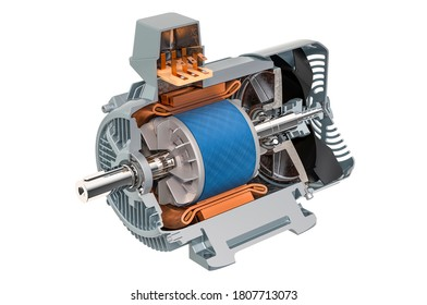 Section of industrial electric motor, 3D rendering isolated on white background