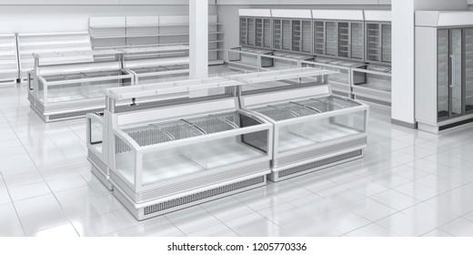 Sektion mit Kühlschrank präsentiert im Supermarkt. 3D-Illustration des Innenraums