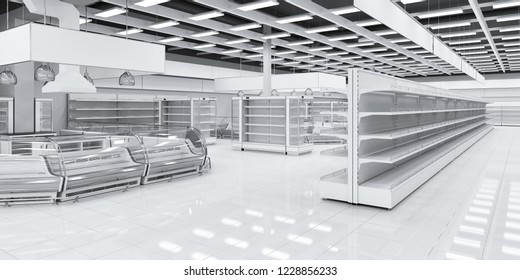Section with refrigeration showcases in the supermarket. 3d illustration of the interior