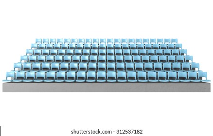 A section of stadium seating with blue chairs set in rows on a sloping concrete bank