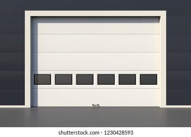 Sectional industrial door with windows, white garage door 3D render