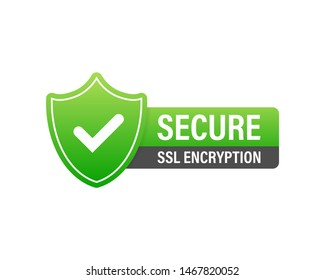 Secure connection icon illustration isolated on white background, flat style secured ssl shield symbols, protected safe data encryption technology, https certificate privacy sign