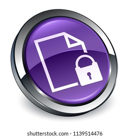 Secure document icon isolated on 3d purple round button abstract illustration