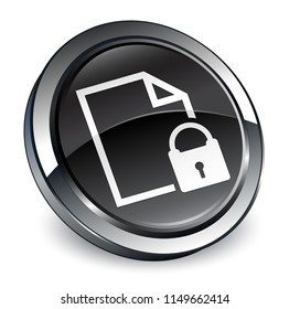 Secure document icon isolated on 3d black round button abstract illustration