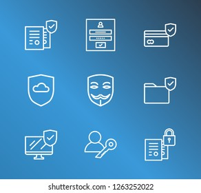 Secure icon set and computer with secure folder, cloud security and permission. Safety document related secure icon  for web UI logo design.