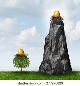 Secure investment choice as a golden nest egg in a low tree and another savings gold fund on a high hard access rock mountain as a financial and business metaphor for retirement security safeguard.