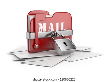 Secure mail data. Email concept. 3D icon isolated white background