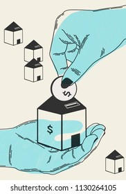 Secure monetary investment in home purchase. Minimalist conceptual illustration. Show a hand by inserting a coin into an investment house. Safe value metaphor. Salmon and blue colors over ink.