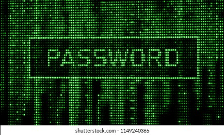 Secure password. Cyber attack. Hacking. Digital background green matrix. Binary computer code. 3d rendering